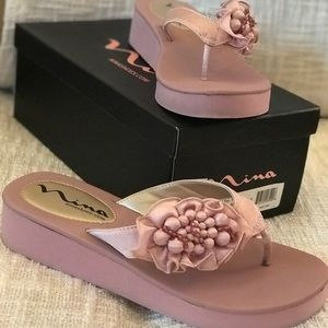 Nina Blush Wedge Flip Flops